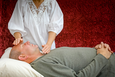 Channelling healing to male client